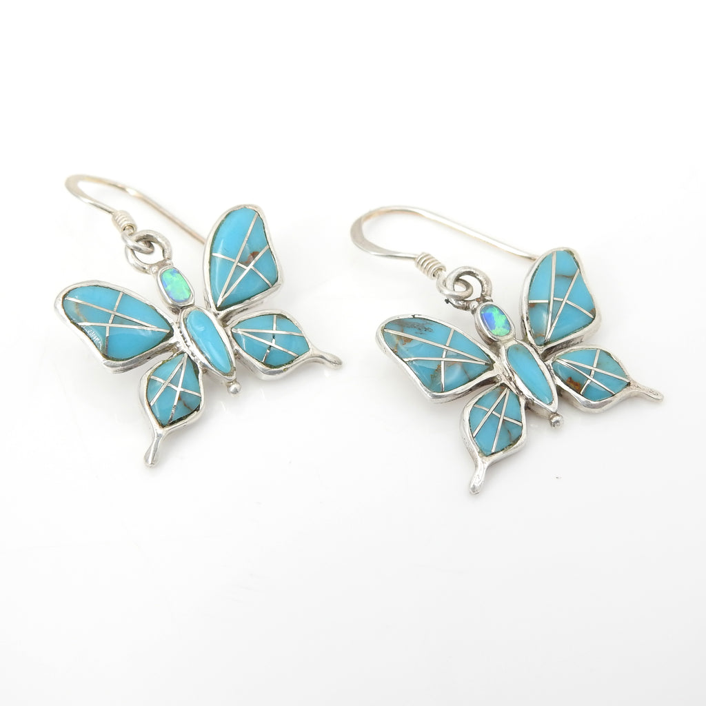 Sterling Silver Turquoise Inlay Butterfly Earrings