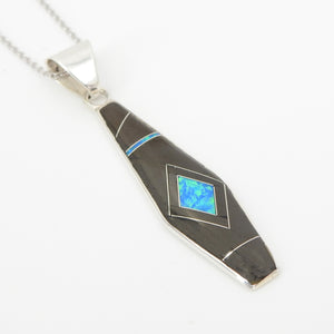 S/S Onxy Opal Inlay Pendant