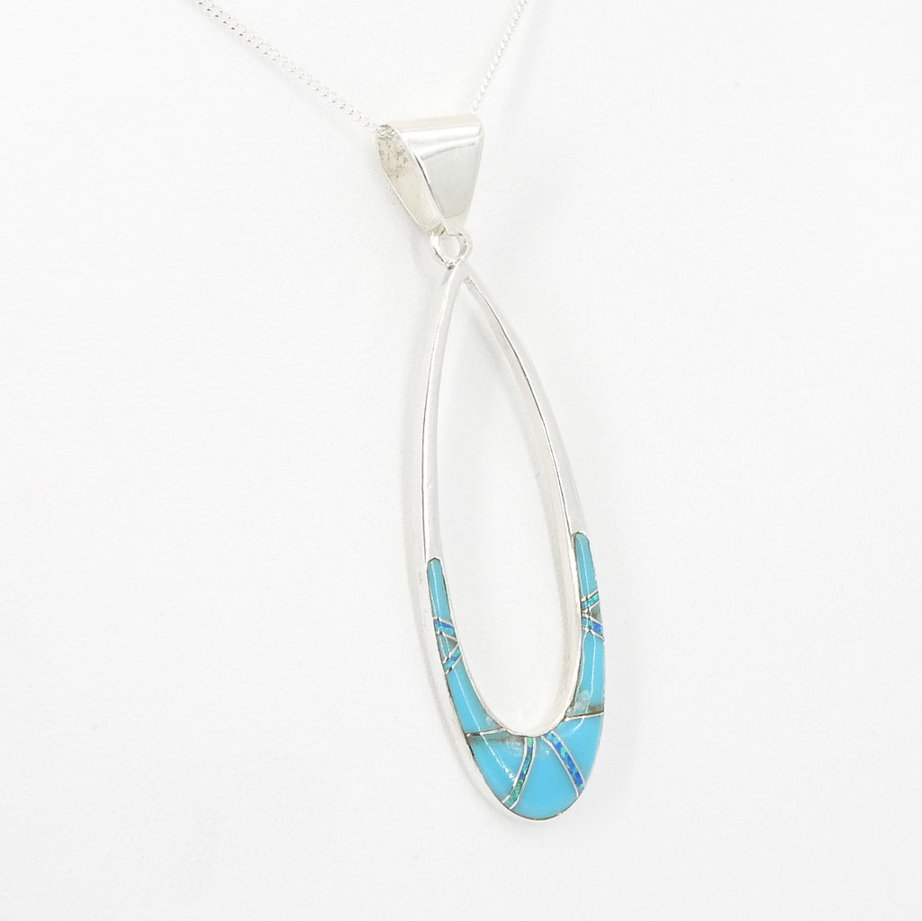 Sterling Silver Turquoise & Created Opal Inlay Pendant