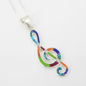 Sterling Silver Inlay Musical Note Pendant