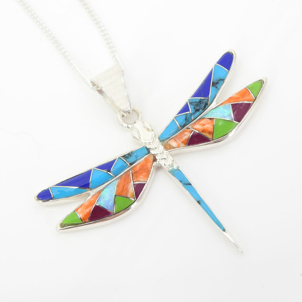 S/S Dragonfly Inlay Pendant