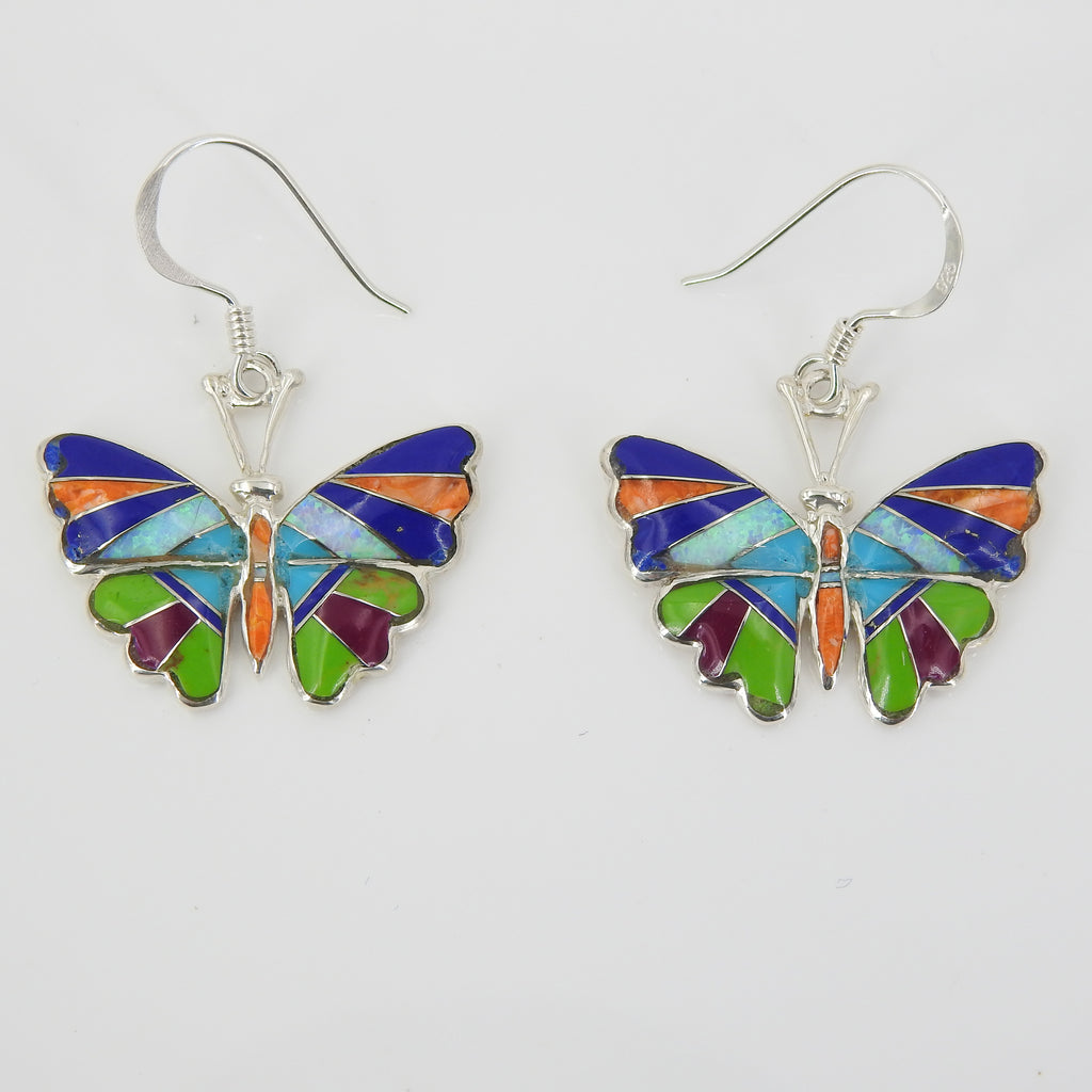 Sterling Silver Inlay Butterfly Earrings