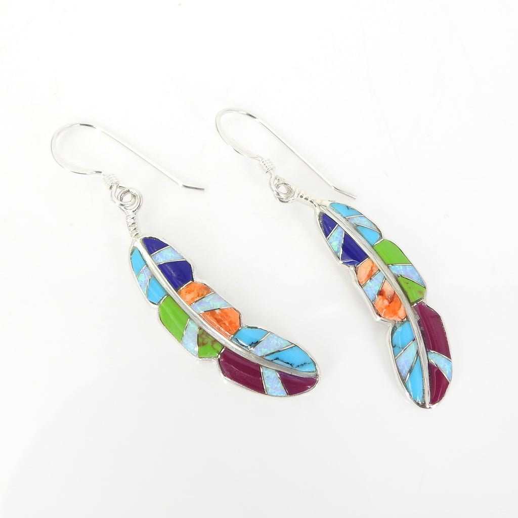 Sterling Silver Inlay Feather Earrings