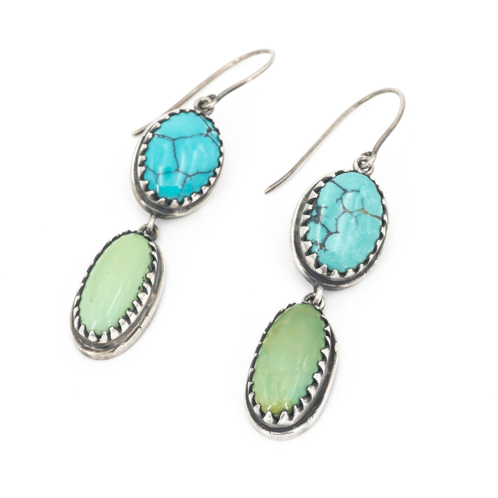 S/S Double Turquoise Drop Earring