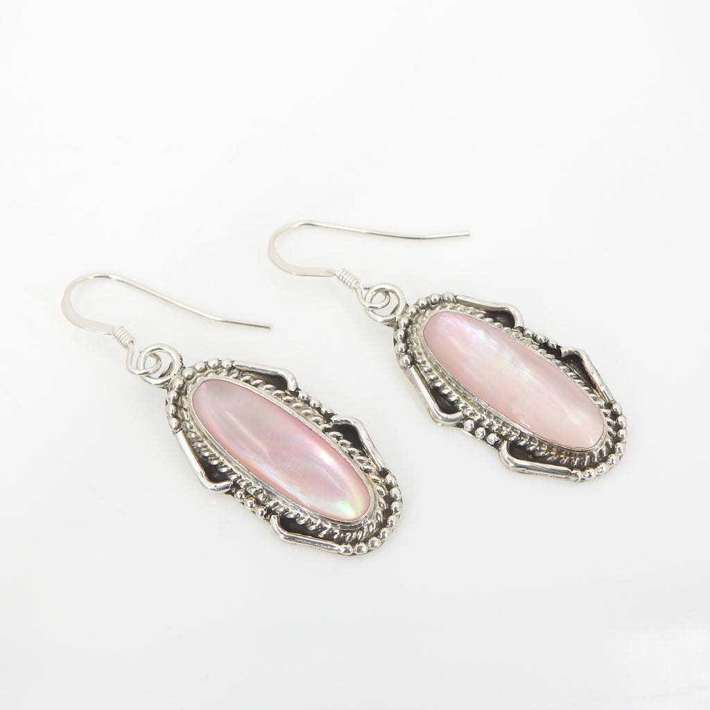 Sterling Silver Native American Pink Shell Earrings