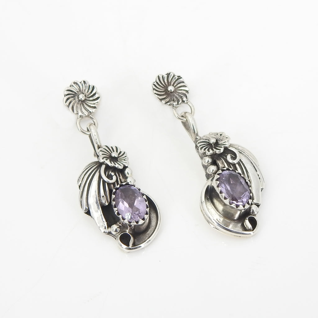 Sterling Silver Amethyst Flower Earrings