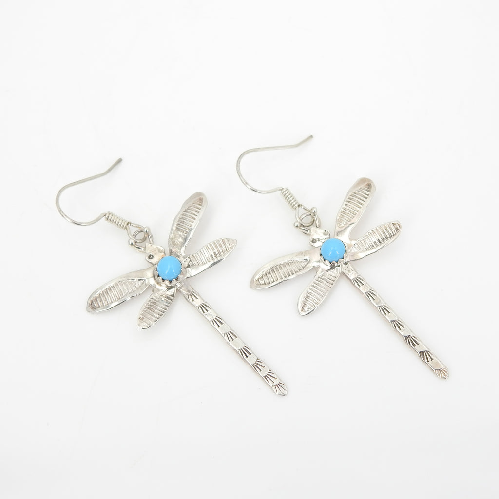 Sterling Silver Native American Dragonfly & Turquoise Earrings
