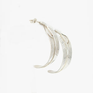 S/S Feather Hoop Earring