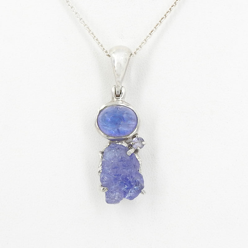Sterling Silver Tanzanite Trio Pendant
