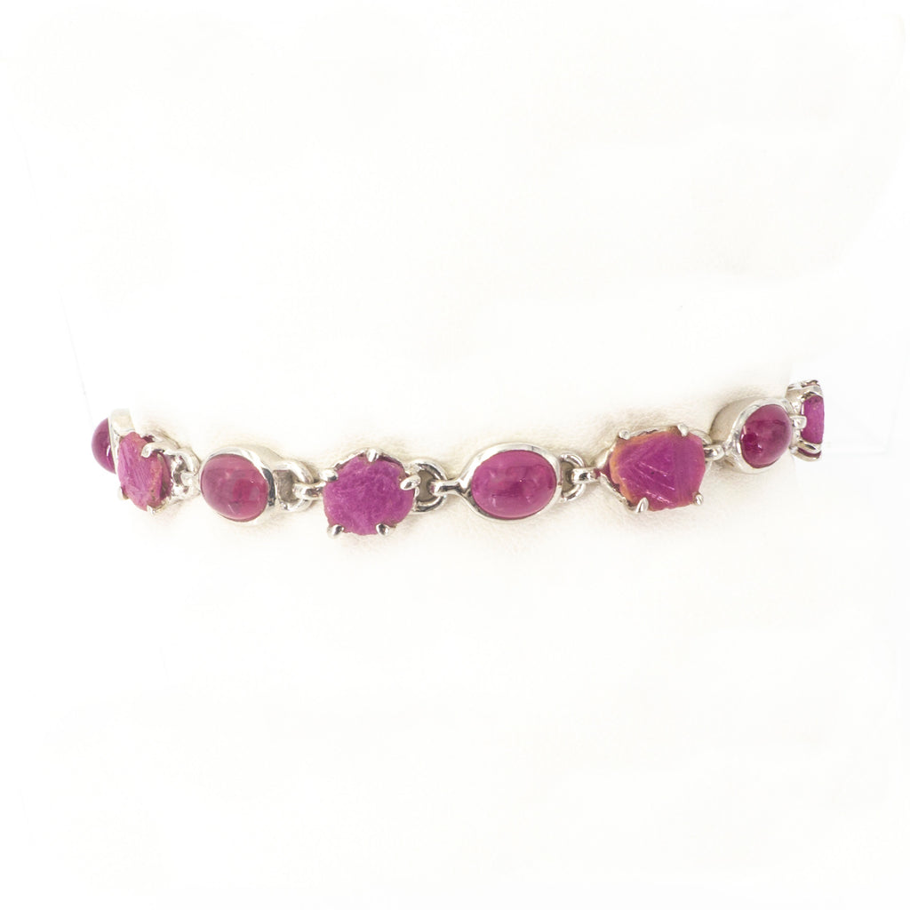 S/S Smooth and Rough Ruby Bracelet