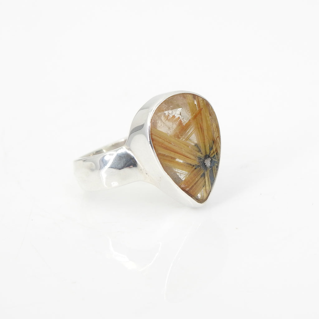 Sterling Silver Rutilated Quartz Ring SZ 7.5