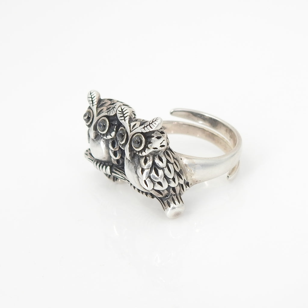Sterling Silver Double Owl Adjustable Ring