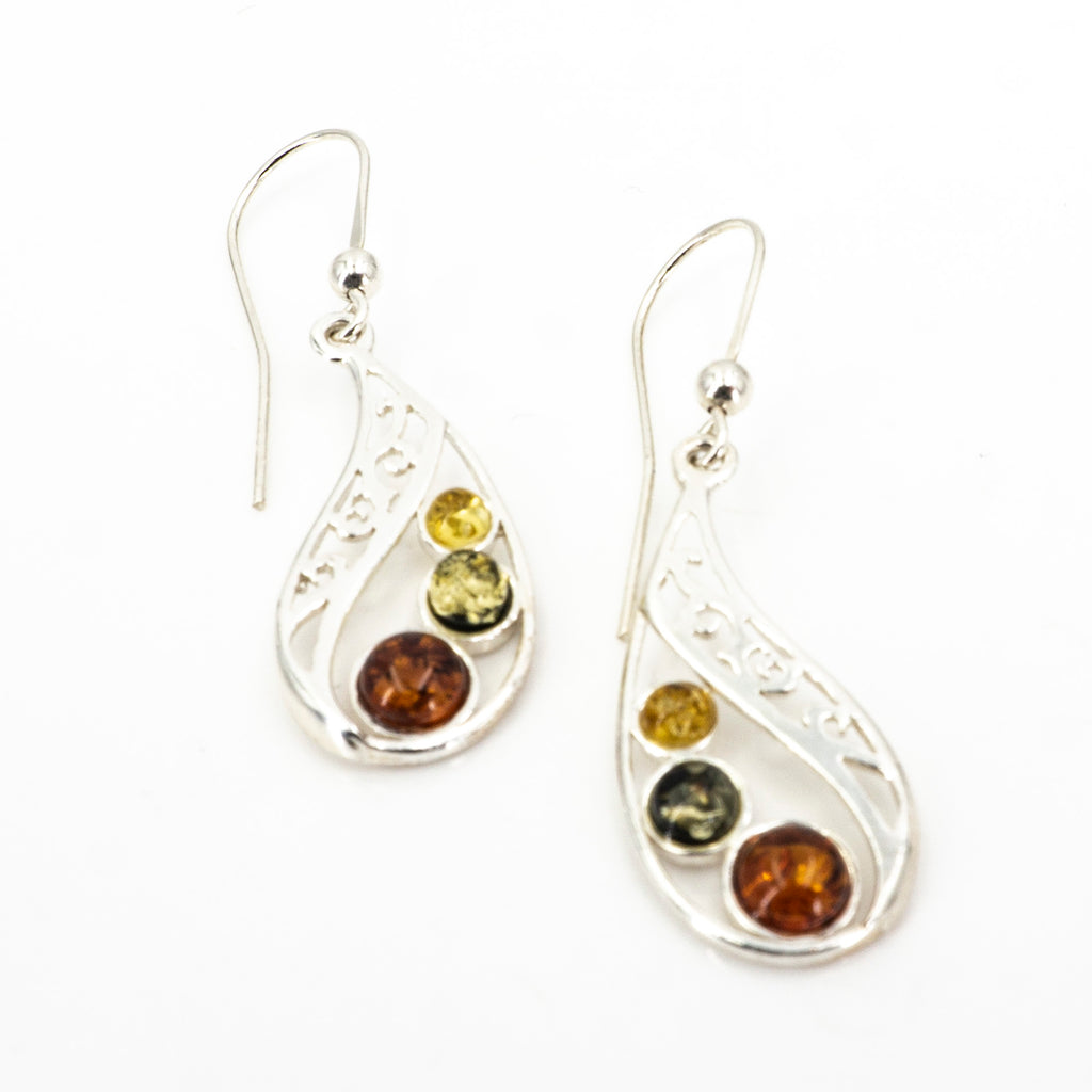 S/S 3 Mixed Amber Teardop Earring