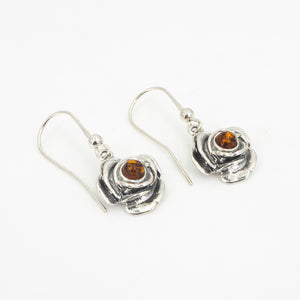 S/S Flower W Amber Center Earring