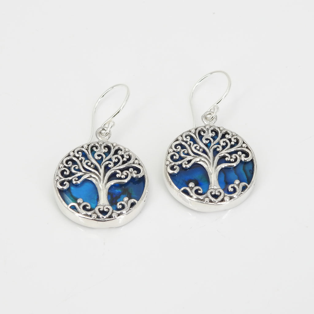 Sterling Silver Tree of Life Blue Abalone Earring