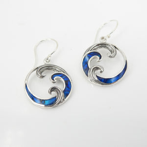 Sterling Silver Abalone Wave Earrings