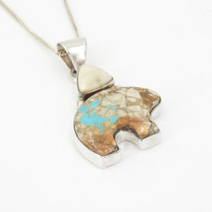 Sterling Silver Boulder Turquoise Fossilized Walrus Bear Pendant