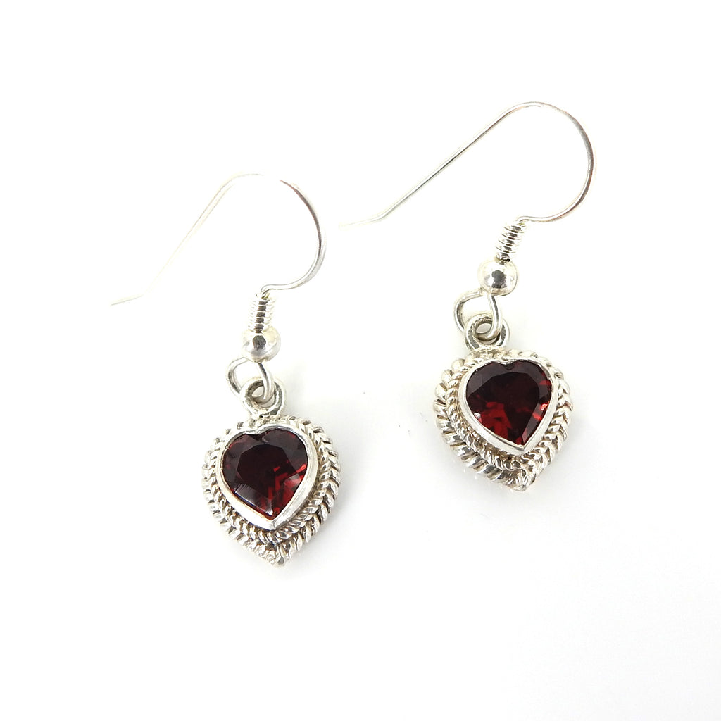 Sterling Silver Garnet Heart Earrings