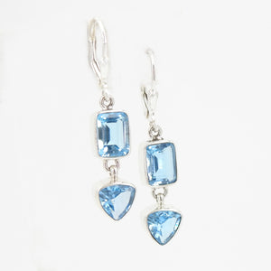 S/S Faceted Blue Topaz Earring