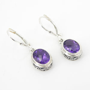 S/S Faceted Amethyst Earring