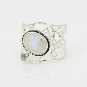 S/S Moonstone Aquamarine Ring SZ 8.25