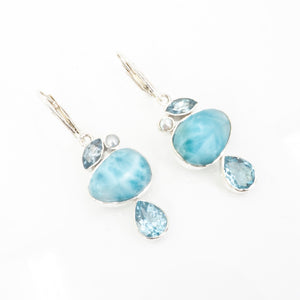 S/S Larimar Blue Topaz Earrings