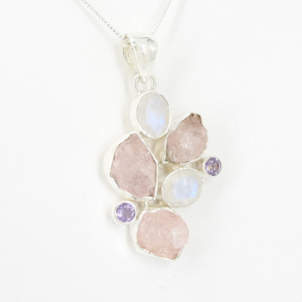 Sterling Silver Morganite Moonstone & Amethyst Pendant