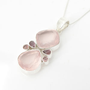 Sterling Silver Rose Quartz & Pink Tourmaline Pendant