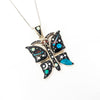 S/S Solar Inlay Butterfly Pendant
