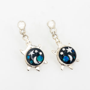 S/S Solar Inlay Turtle Earrings