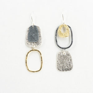 S/S Three Tone Abstract Earrings