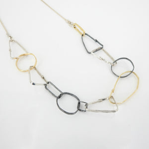 Three Tone Sterling Silver Abstract Link Necklace
