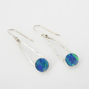 Sterling Silver Created Opal Dangle Earring