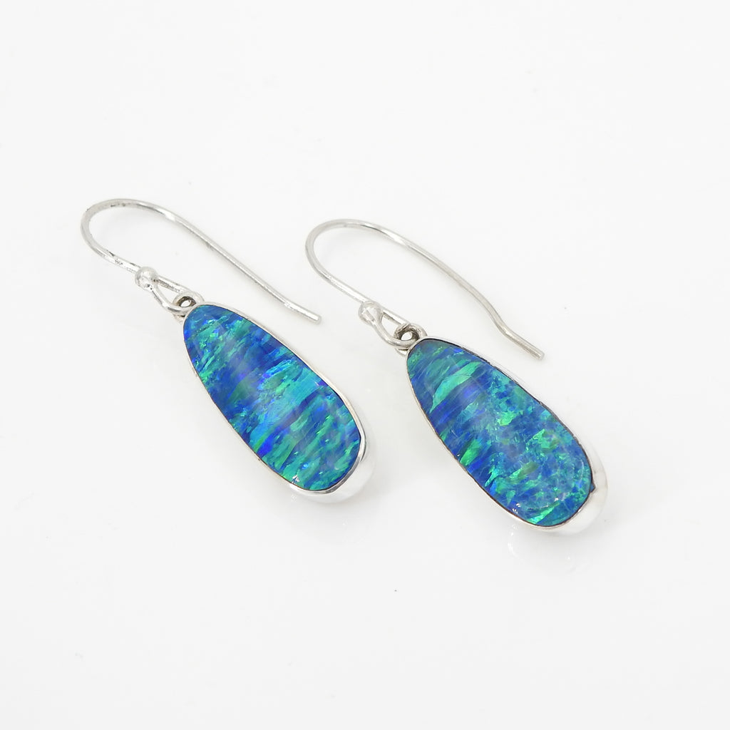 S/S Created Opal Earring