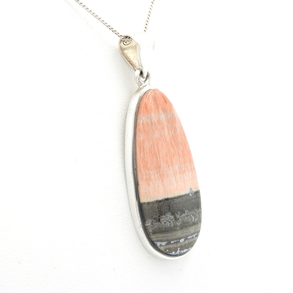 Sterling Silver Orange Selenite Pendant