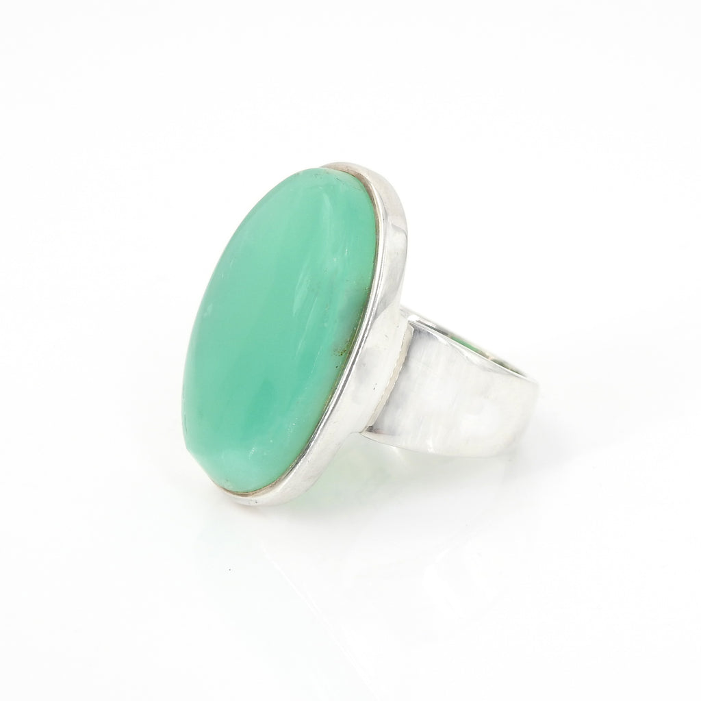 Sterling Silver Chrysoprase Adjustable Ring