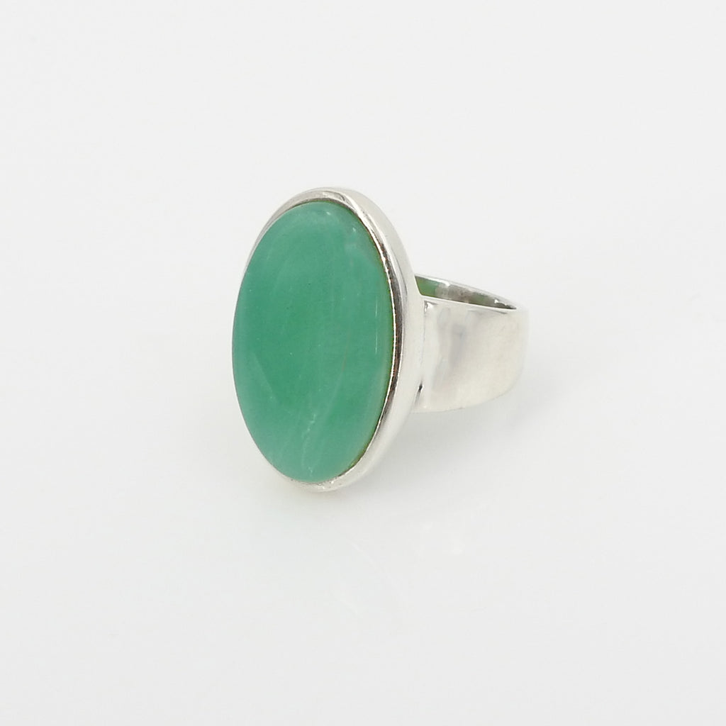 S/S Chrysoprase Ring SZ 7.5