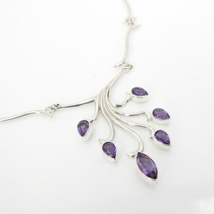 Sterling Silver Amethyst Branch Necklace