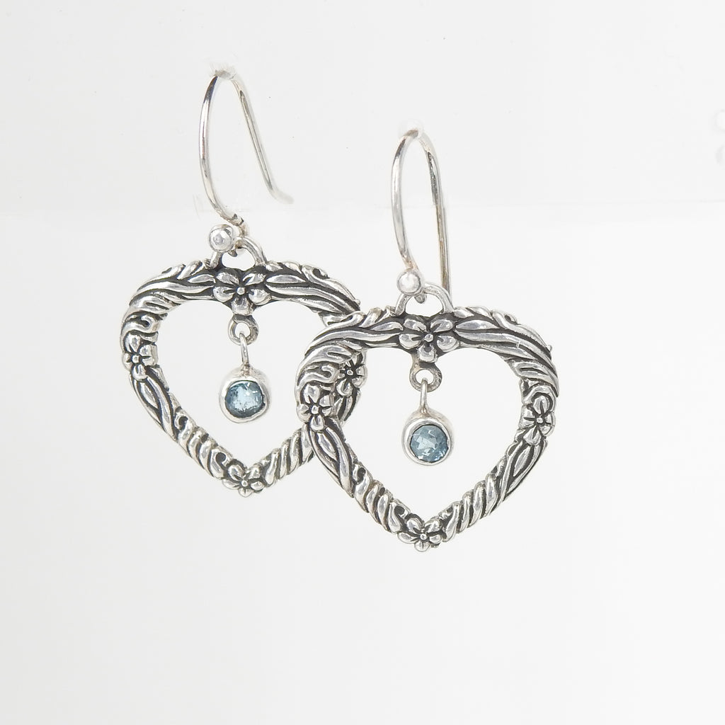 Sterling Silver Heart w/ Blue Topaz Center Earring