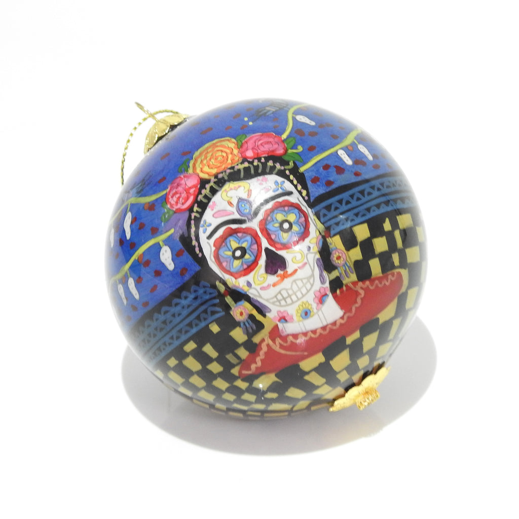 Day of the Dead Freda Glass Ornament