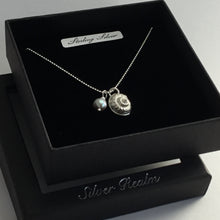 Load image into Gallery viewer, Silver Shell and Pearl Pendant on a Sterling Silver Chain