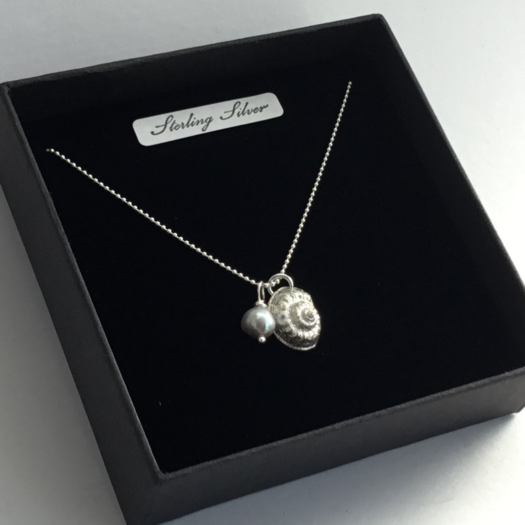 Silver Shell and Pearl Pendant on a Sterling Silver Chain