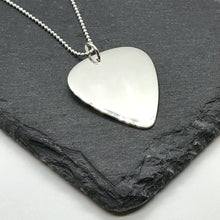 Load image into Gallery viewer, Mens Sterling Silver Personalised Guitar Pick Pendant Necklace on Leather Cord