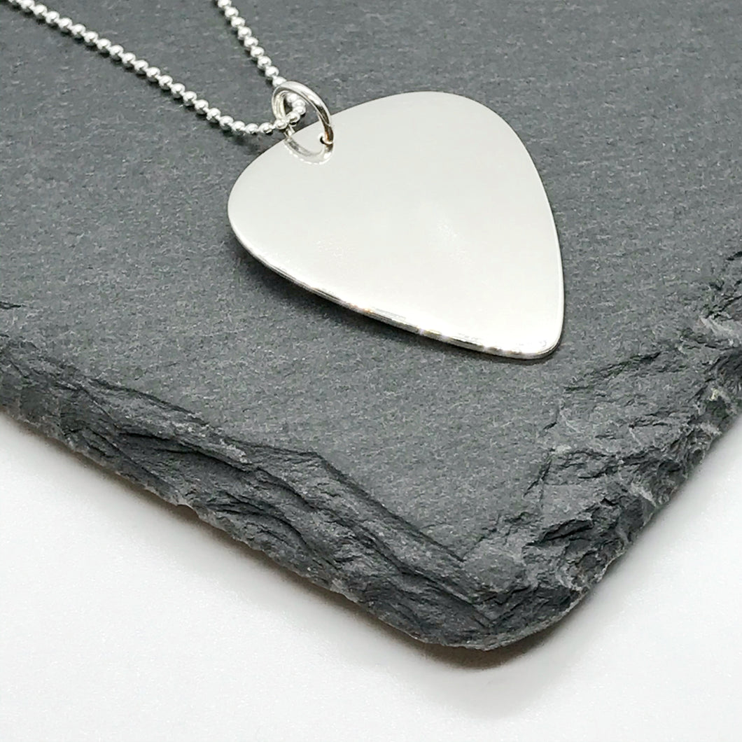 Guitar Pick Pendant with Sterling Silver Ball Chain