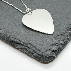 Mens Sterling Silver Personalised Guitar Pick Pendant Necklace on Leather Cord