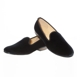 New Fashion Plain Black Velvet Loafers Men Dress Shoes