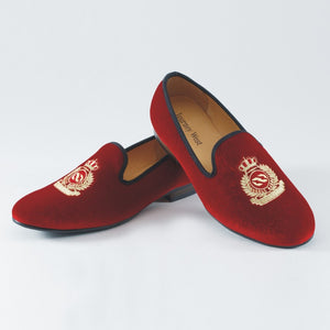 New Handmade Men Red Velvet Loafers With Crown Casual Dress Shoes