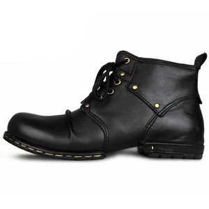 OTTO ZONE Handmade Genuine Cow Leather Men's Martin Boots