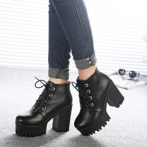 Gdgydh Brand Designers 2018 New Spring Autumn Women Shoes Black High Heels Boots