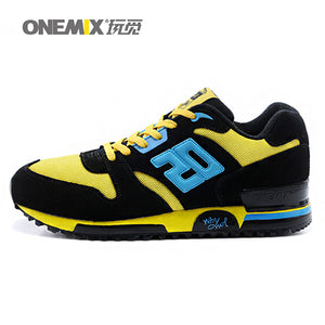 ONEMIX New Mens Genuine Leather Fabric Retro Slow Running Shoes